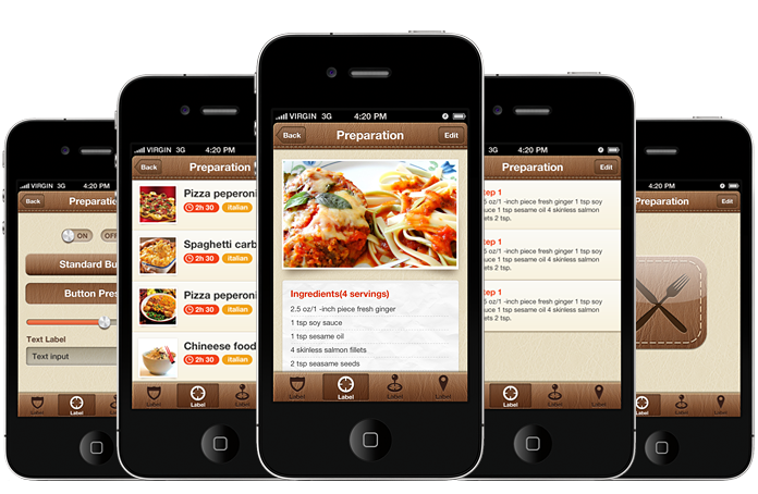 Foody iphone and ios app ui design templates for Designing an iphone app